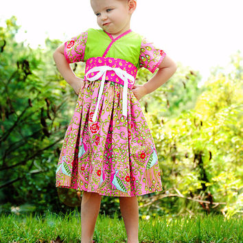 Little Girls Dress with Pink Peacocks