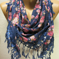 New - Flowered Scarf with  Trim Edge - Triangular