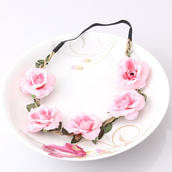 2016 New Bride Bohemian Flower Headband Festival Wedding Floral Garland Summer Hair Band Scrunchy Headband
