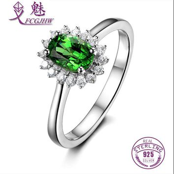 FCGJHW 925 Sterling Silver Oval Shape Green Peridot with Zircon Wedding Ring for Women Fine Jewelry