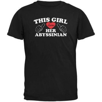DCCKJY1 Valentines This Girl Loves Her Abyssinian Black Adult T-Shirt