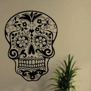 Skull wall sticker Skull punk rock creative personality removable vinyl wall art stickers sugar skull decals free shipping H007