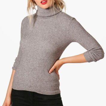 Hannah Roll Neck Rib Knit Jumper | Boohoo
