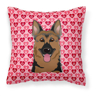 German Shepherd Hearts Fabric Decorative Pillow BB5281PW1414