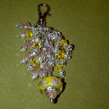 Deluxe Pink and Yellow Purse/Backpack/Laptop Bag/Anything Charm