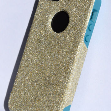 Custom iPhone 5 Glitter Otterbox Commuter Cute Case,  Custom  Glitter White Gold / Teal Otterbox Color Cover for iPhone 5