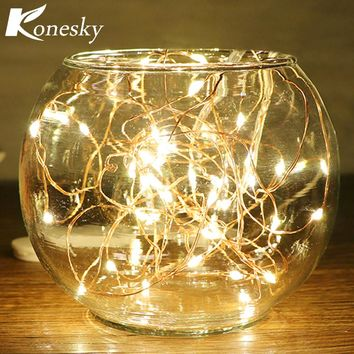 5m/16.4ft 50-LED Copper Wire String Light for Glass Craft Bottle Fairy Lamp Decor