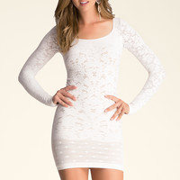bebe Womens Victoria Lace Dress White Nude