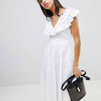 Lost Ink Fit And Flare Dress In Broderie Anglaise at asos.com