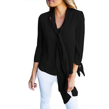 Black Bow-tie Sleeved Blouse with Necktie