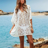 2015 Beach Cover-Up Crochet Bikini Swimwear Solid White Tunic Lace Sarong Swimsuit Beach Dress Bathing Suit Women's Cover Ups Pareo