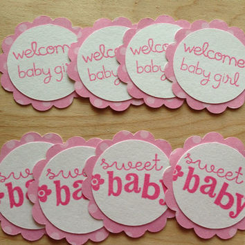 25 Tags for $5.50 /Cupcake Toppers/Baby Welcome Party/For Baby Girl Party -