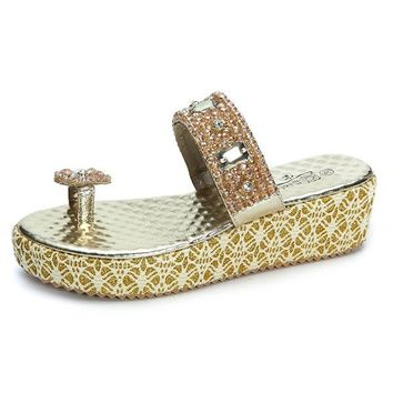 Big Size Bohemia Rhinestones Platform Slip On Casual Beach Slippers
