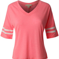 LE3NO Womens Cropped 3/4 Sleeve Baseball Shirt (CLEARANCE)