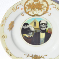 "American Gothic Bride & Frankenstein Decorative Vintage Gold Trim Plate 6.25"" Vintage Upcycled Plate"