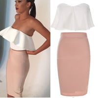 Strapless Ruffled Crop Tops And Pencil Skirt