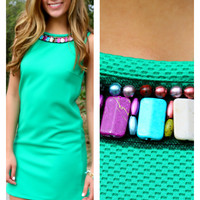 The Grass Is Always Greener Beaded Neckline Dress