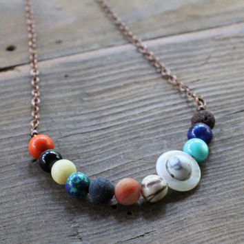 Solar System Necklace, Planets Necklace, Galaxy Necklace, Cosmic Necklace, Astronomy Jewelry, Unisex Jewelry, Boho Jewelry, Colorful Jewelry