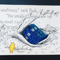 POOH DR. WHO - Winnie the Pooh dr who tardis walt disney world disney land the doctor dr who disney art illustration tardis drawing marker