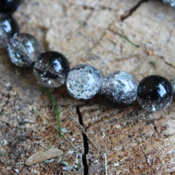 Beaded Bracelet, Stacking Bracelet, Crackle Bead Bracelet, Black and Clear Bead, Round Bead Bracelet, Stretchy Bracelet, Glass Bead Bracelet
