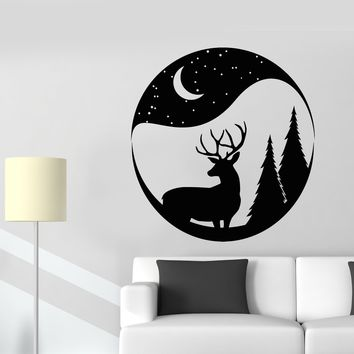 Vinyl Wall Decal Christmas Deer Snowball Forest Animal Moon Stickers (2464ig)