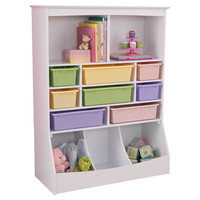 KidKraft Wall Storage Unit White with plastic bins - 14980