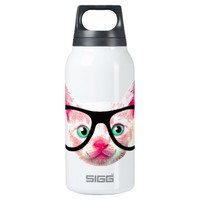 cute nerdy hipster cat insulated water bottle