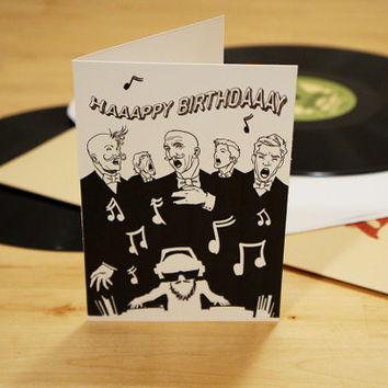Happy Birthday DJ, Music Lover - Illustrated Greeting card for musicians - Black and white