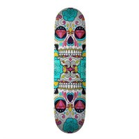 Hipster Sugar Skull and Teal Blue Floral Roses Custom Skate Board from Zazzle.com