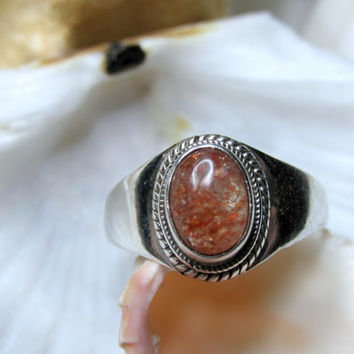 Sterling Silver Oregon Sunstone Ring Cabachon Sunstone Size 7