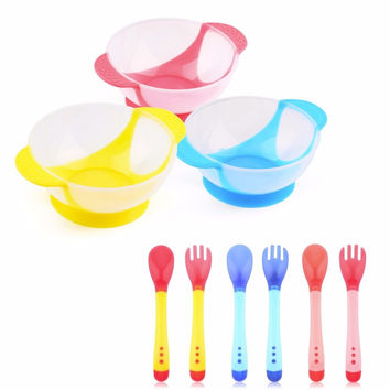 Hot sales Baby Spoon Bowl Learning Dishes With Suction Cup Assist food Bowl Temperature Sensing Spoon Baby Tableware