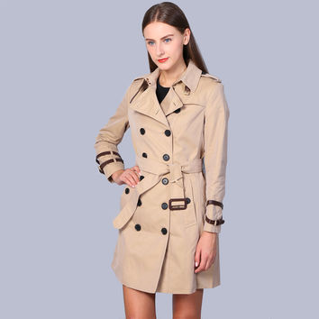 2016 London Fashion Brand double breasted leather buckle Trench Classic European Trench Coat Double Breasted Women Pea Coat