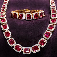 Red Ruby CZ Necklace Solitaire Cut Stones 18K Gold Plate Mens 31 Inch Classy