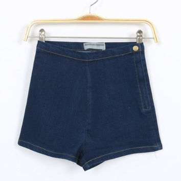High Waist Side Zipper Denim Shorts