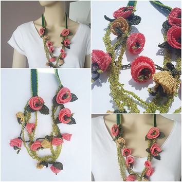 Spring Necklace-Flower Necklace-Crochet Jewelry-Crochet Scarf-Flower Crochet Necklace-Handmade Necklace-Summer Accessory--Colorful Necklace