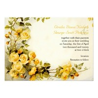 Vintage romantic painting of roses wedding personalized invites