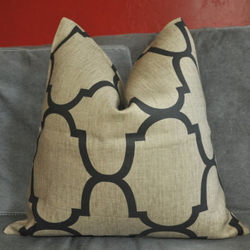 ON BOTH SIDES - Pillow Cover - Decorative Pillow Cover - Throw Pillow Cover - Kravet - Linen - Black - Brown - 18x18 inch
