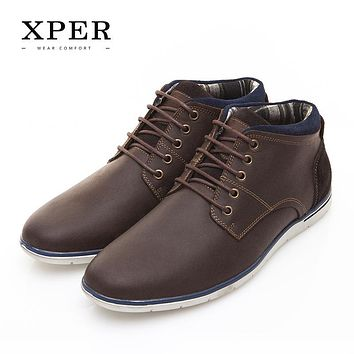 XPER Brand Genuine Leather Men Shoes Autumn Winter Men Boots 100% Cow leather Men Casual Boots Lace-up Inside canvas #XAF86001