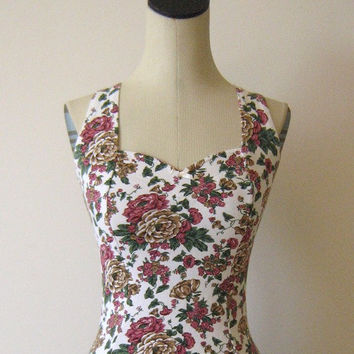 Floral Sweetheart Bodysuit Workout Grunge