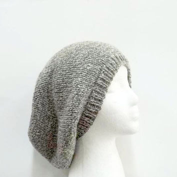 Hand Knit hat woman hat mens hat winter hat Gray Wool Hat -ready to ship