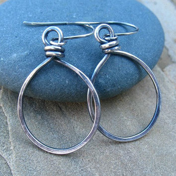 Sterling Silver Hoop Earrings, Oval Hoops, Oxidized Jewelry