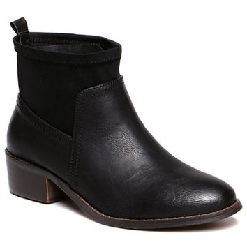 Black Low Heel Patchwork Boots Out of Stock