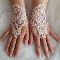 french lace,  pink lace wedding gloves, costume gloves,bridal gloves, free shipping!