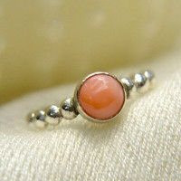 Sale - 20% off - Bead Band Stacking Ring, Sterling Silver Ring with Salmon Coral Gem