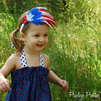 July 4th Headband with Sequin Bow - Patriotic Feather Headband - Red White and Blue - Fourth of July - Independence Day, USA