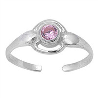 Pink CZ .925 Sterling Silver Toe Ring