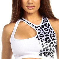 Sexy Cut Out Flex Racer Back Supportive Sports Bra Top - White/Snow Leopard