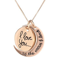 "New Arrival Fashion ""i love you to the moon and back"" Sun Moon Shaped Pendants Necklace charm Jewelry"
