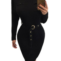 Black High Neck Rib Knitted Midi Dress with Belt