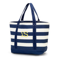 Monogrammed Canvas Beach Bag Free Personalization Navy Stripe Pink Coral Mint